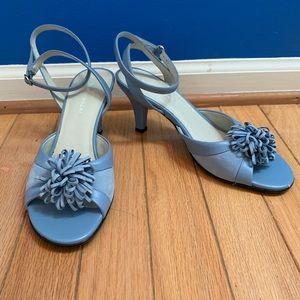 Naturalizer Blue Pom Heeled Strappy Sandal